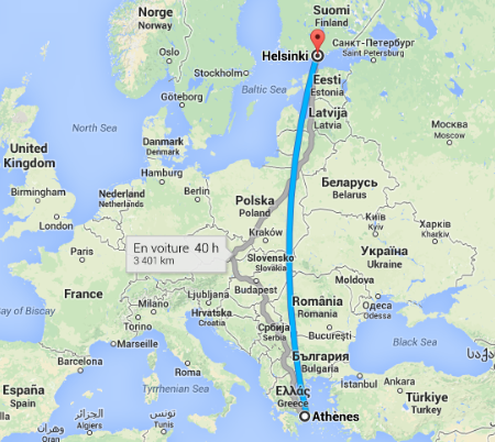Athenes-Helsinki map